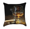 Cognac and Cigar Throw Pillow
