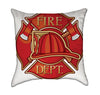 Red Fire Engine Helmet Throw Pillow