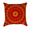 Red and Yellow Mandala Throw Pillow