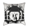 Buddha Head Black and White Music Throw Pillow
