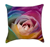 Rainbow Rose Floral Throw Pillow