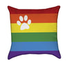 Colorful Rainbow with Pet Paw Throw Pillow