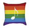 Colorful Rainbow with Music Note Throw Pillow