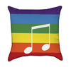 Colorful Rainbow with Music Note Throw Pillow V.2