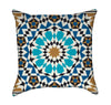 Bonab Arabic Blue Mosaic Mandala Throw Pillow