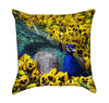 Beautiful Peacock in Field of Yellow Pansies Throw Pillow