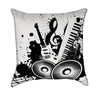 Black and White Guitar and Keyboard Music Throw Pillow