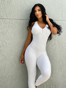 White Cross Bubble Textured Jumpsuit