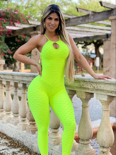 Hearts Bubble Textured Jumpsuit. (Neon)