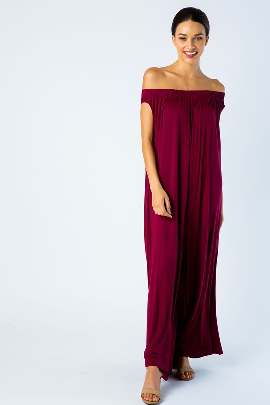 Off Shoulder Wide Leg Jumpsuit in Burgundy