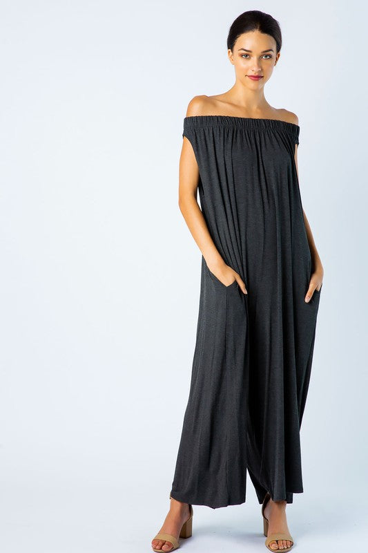 Off Shoulder Wide Leg Jumpsuit in Charcoal