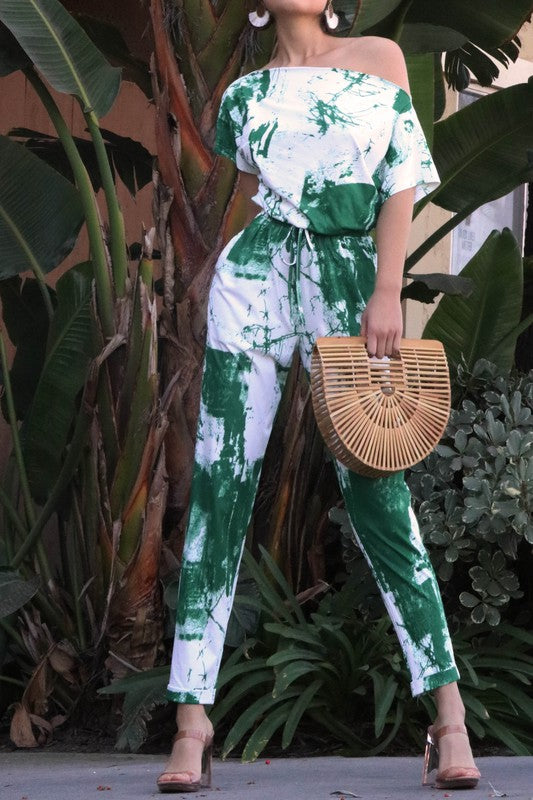 Work of Art Tie Dye Jumpsuit in Green