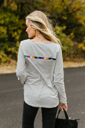 La Moda Striped + Embroidered Top