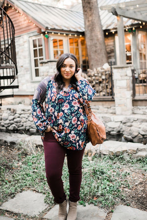 Fanciful Fall Floral Blouse In Blue