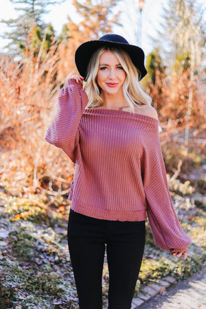 Bubble Sleeve Off The Shoulder Top In Mauve