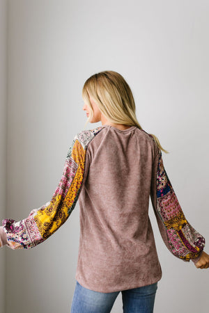 Playful Patchwork Sleeve Blouse