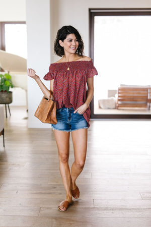 Shannon Shirred Off-Shoulder Blouse