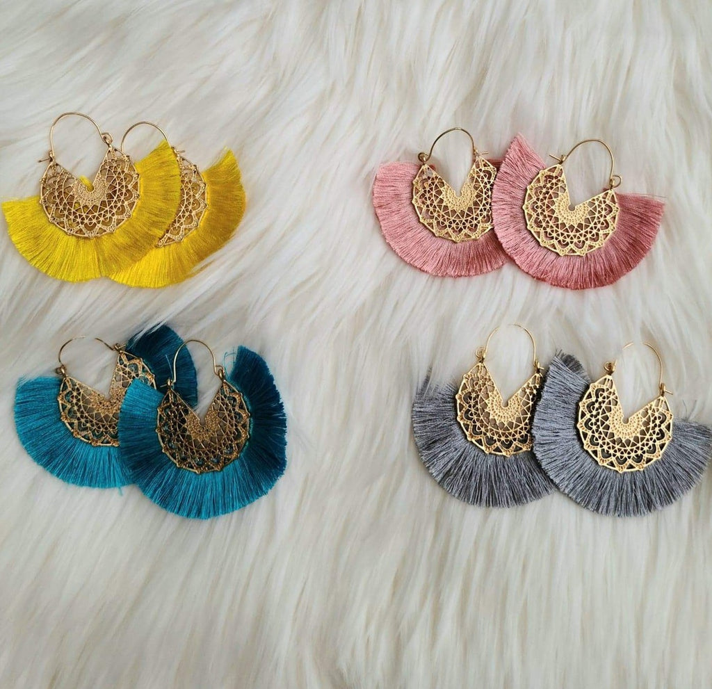 Goddess Tassel Earrings in Yellow, Mauve, Turquoise & Gray