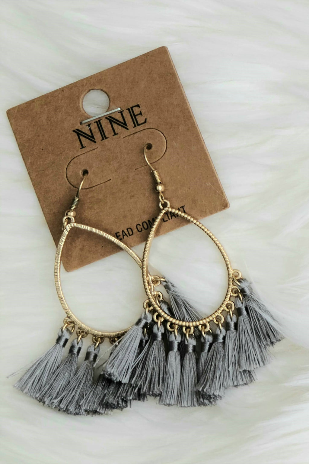 Teardrop Tassel Earrings in Grey