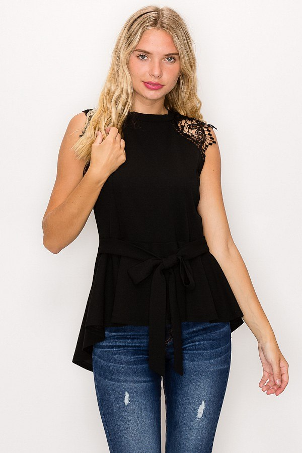 Floral Crochet Lace Belted Top In Black