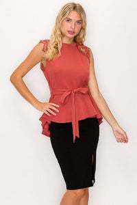 Floral Crochet Lace Belted Top In Marsala