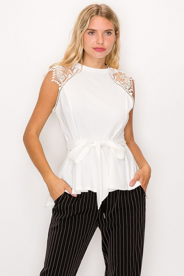 Floral Crochet Lace Belted Top in White