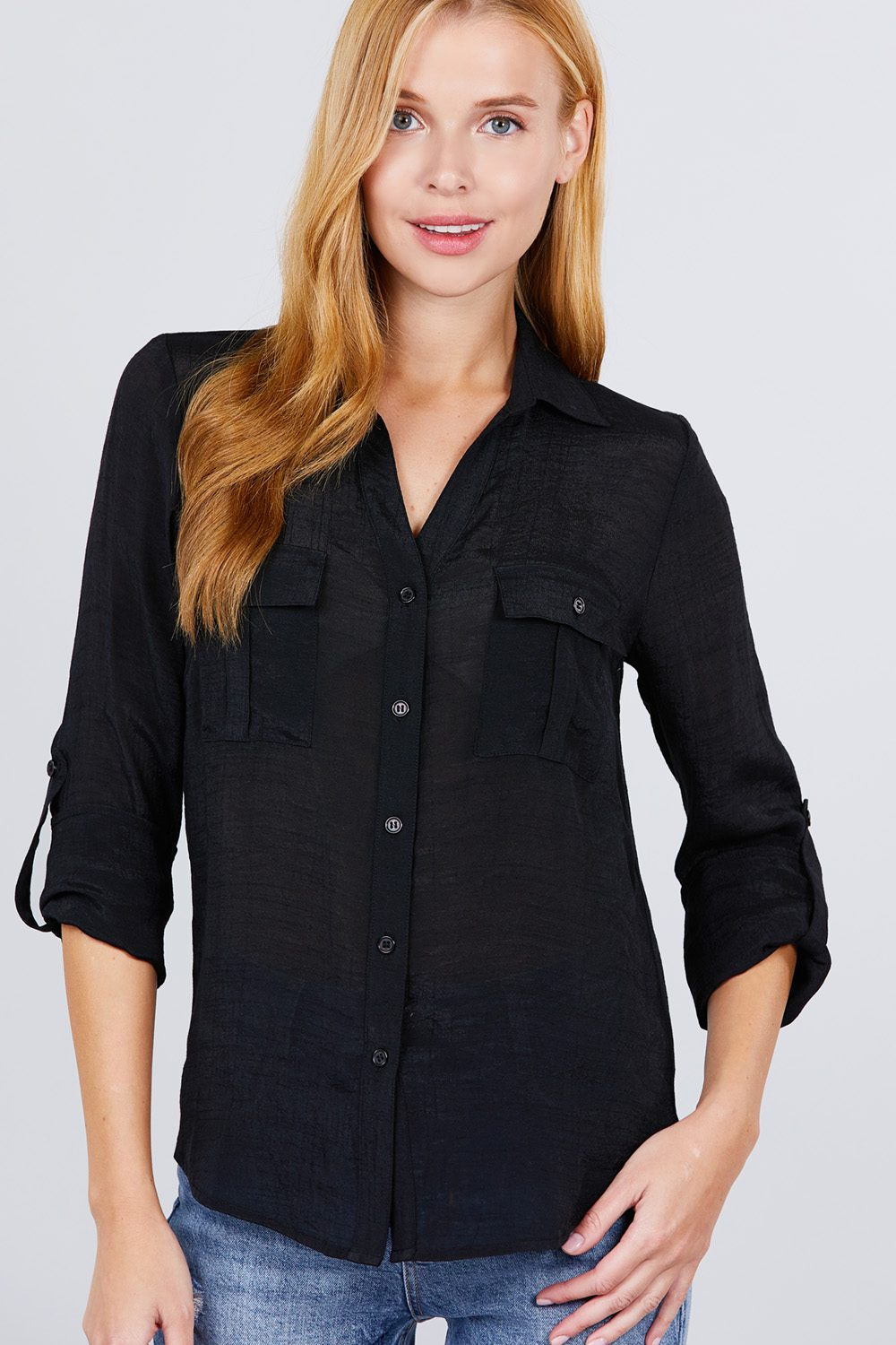 Roll 'Em Up Woven Shirt In Black