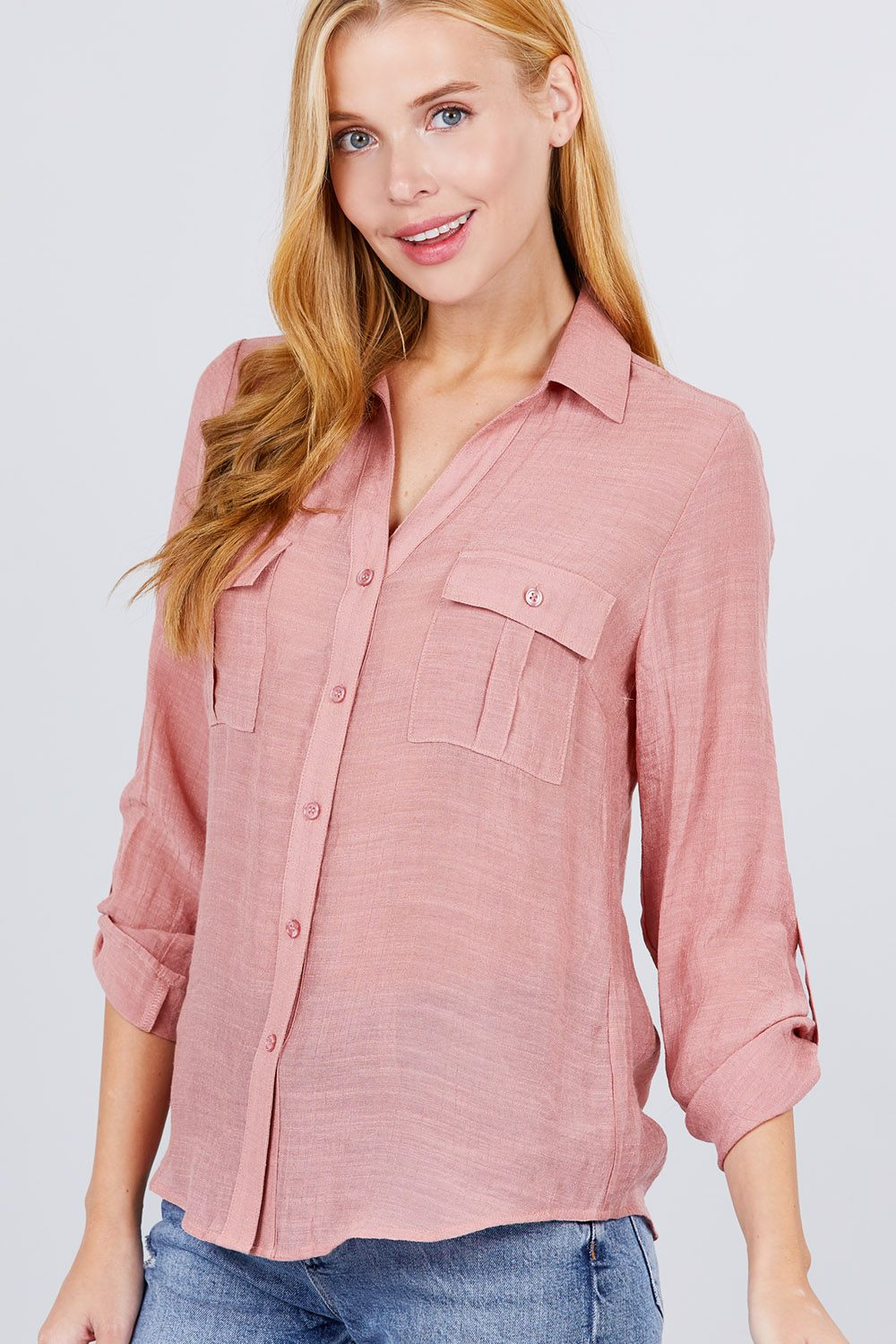 Roll 'Em Up Woven Shirt In Pink