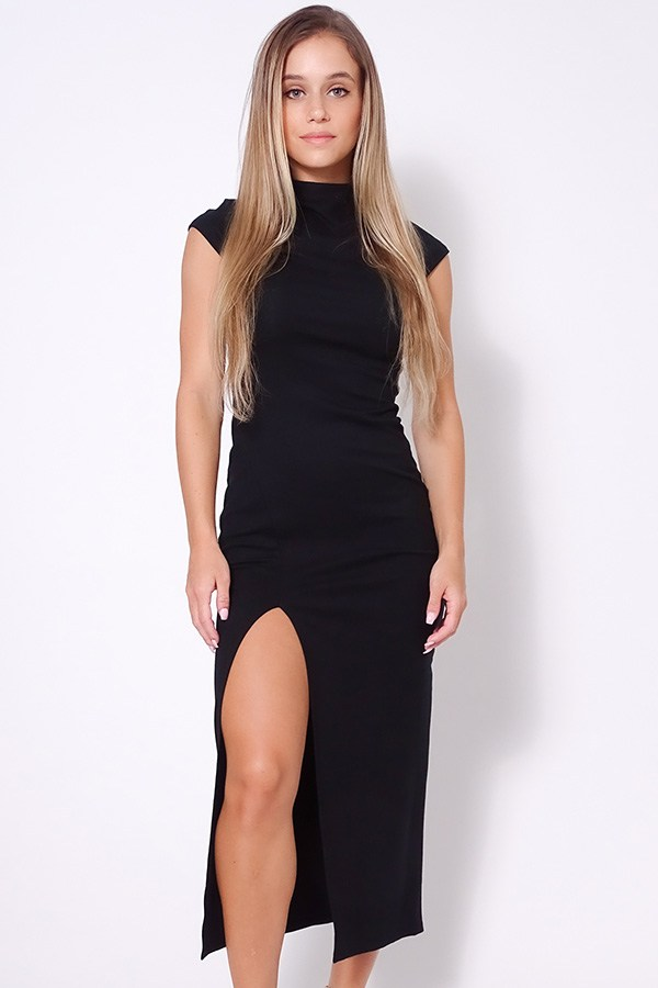 Cap It Off Sleeve Midi Dress In Black