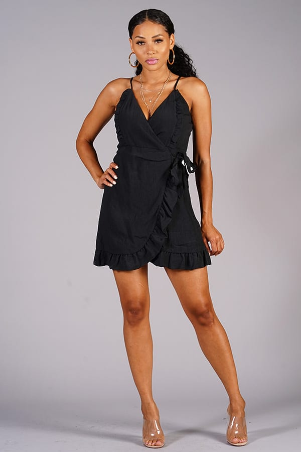 Ruffle Me Up Wrap Dress in Black