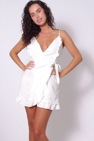 Ruffle Me Up Wrap Dress In Ivory