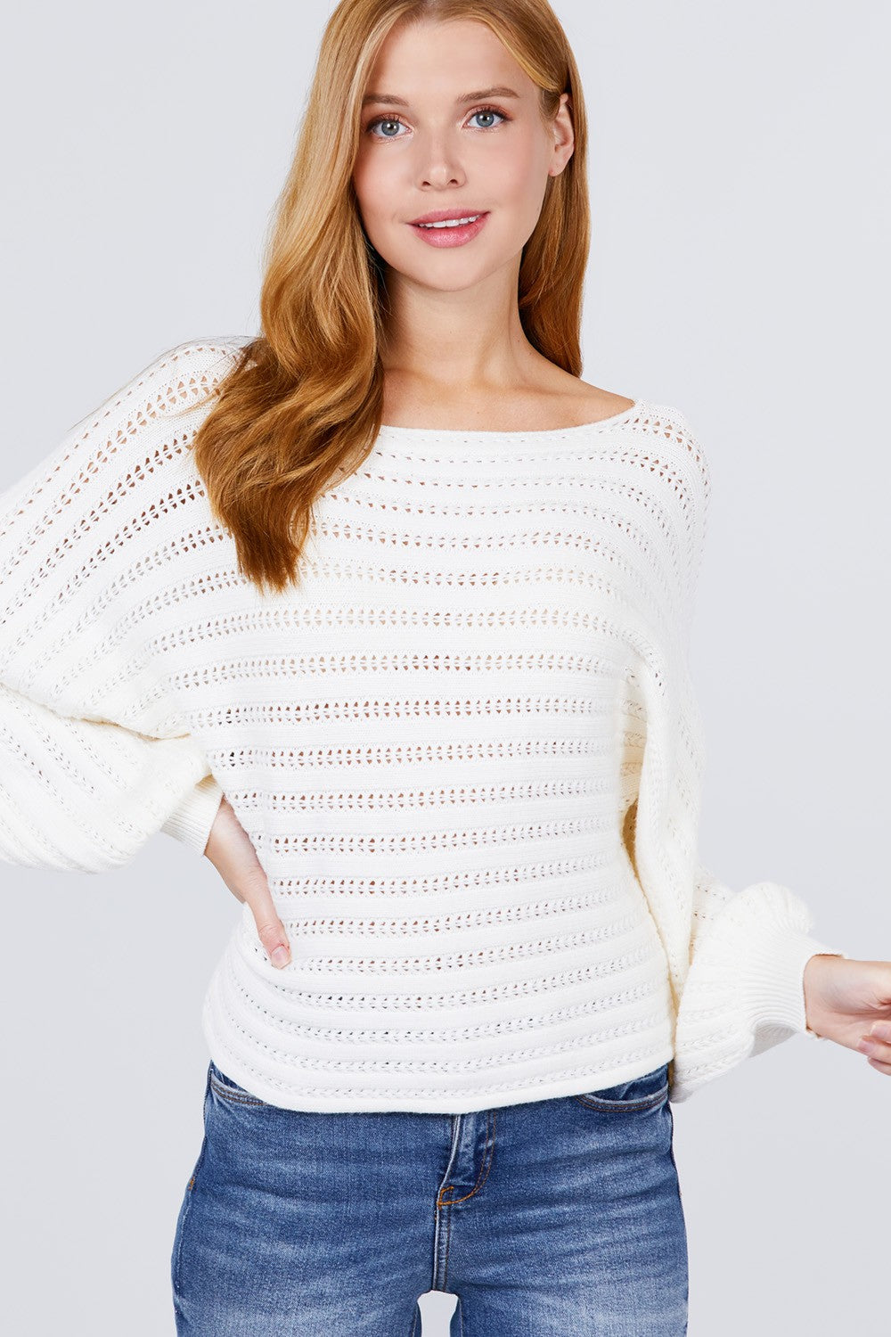 Dolman Sleeve Boat Neck Sweater in Ivory