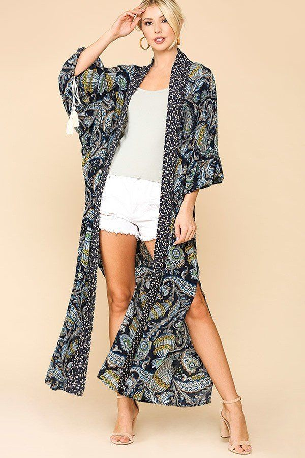 Mixed Print Floor Length Kimono in Navy