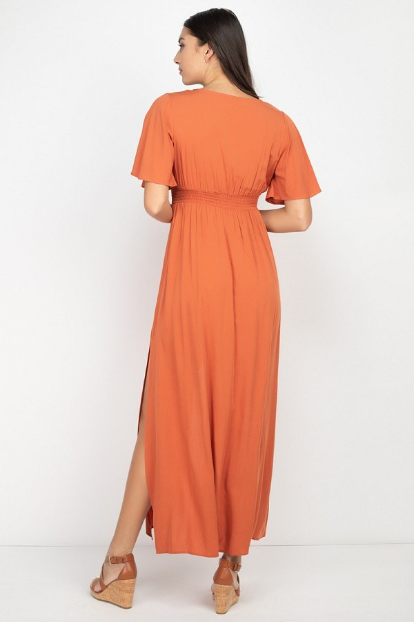 Simply Sweet Slit Maxi Dress in Rust