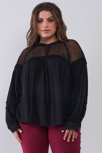 Mesh Boho Balloon Sleeve Top in Black