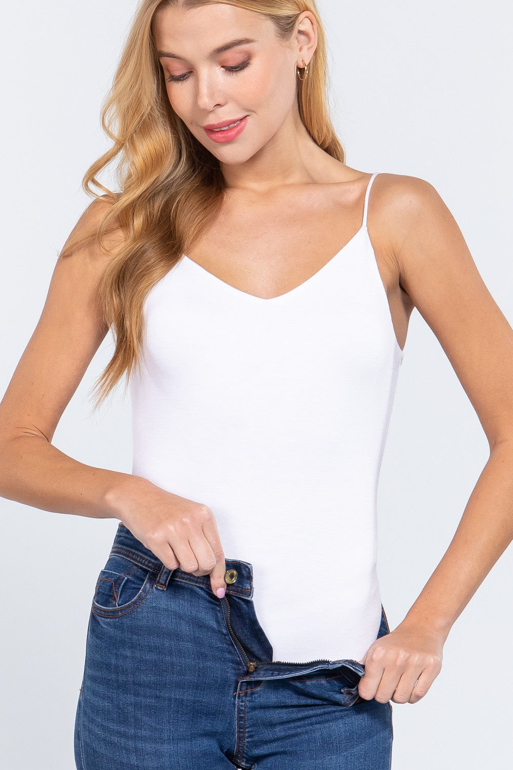V-Neck Cami Bodysuit in Off White