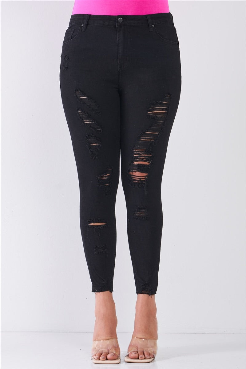 Raw Hem Distressed Skinny Jeans in Black
