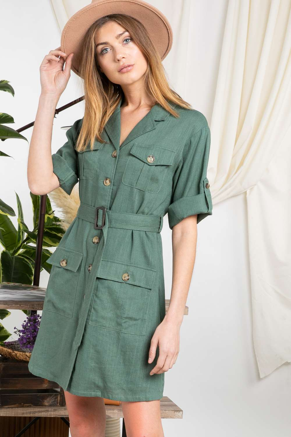 On Safari Dress in Hunter Green
