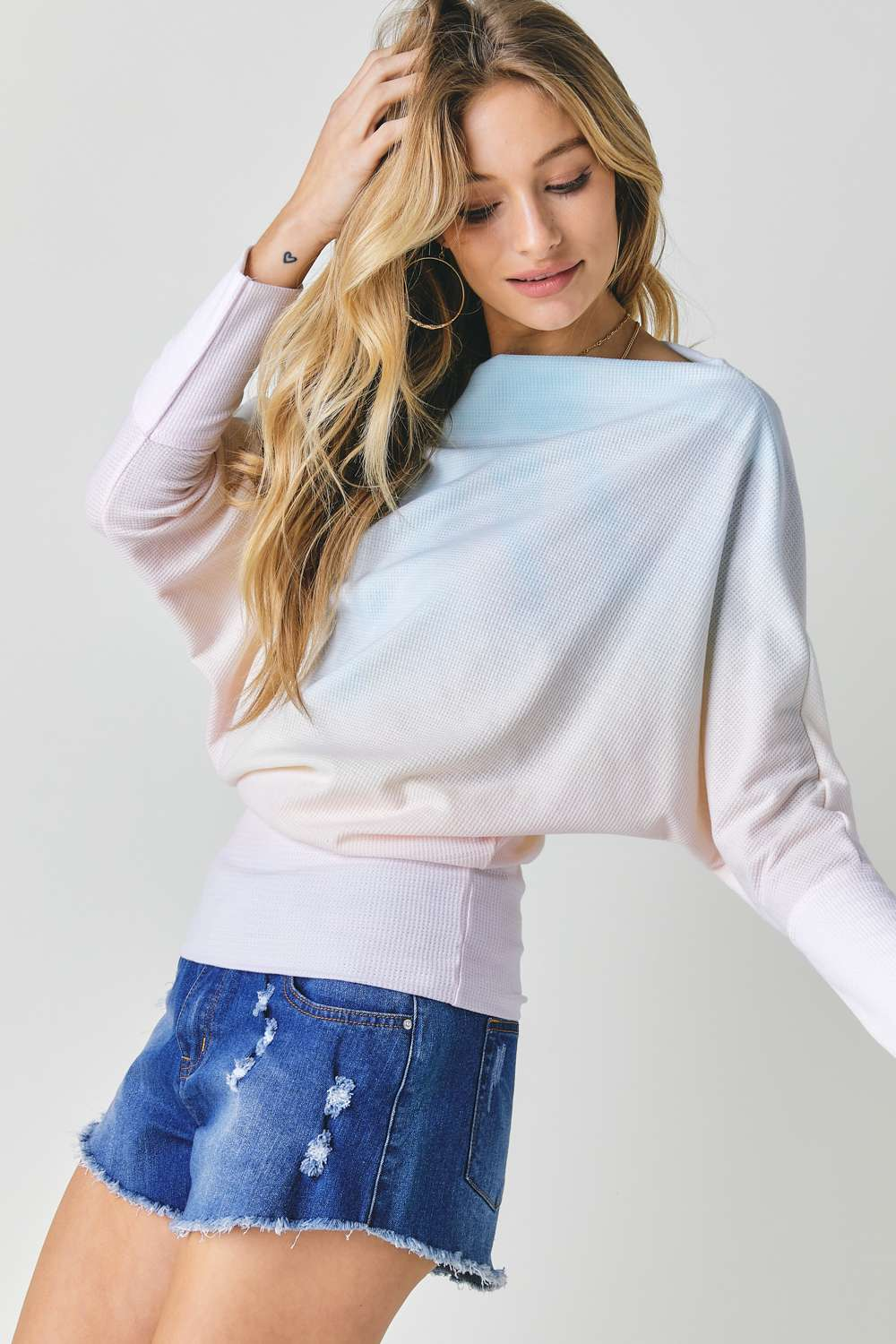 Tie Dye Knit Boatneck Top