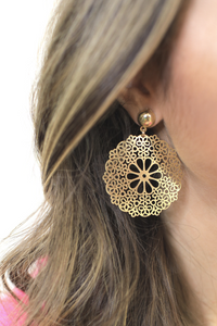 Fancy Floral Earrings in Gold