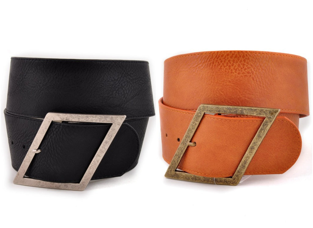 High Waist Wide Belt in Black & Light Rust