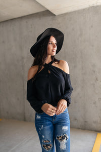 One Last Hurrah Cold Shoulder Top