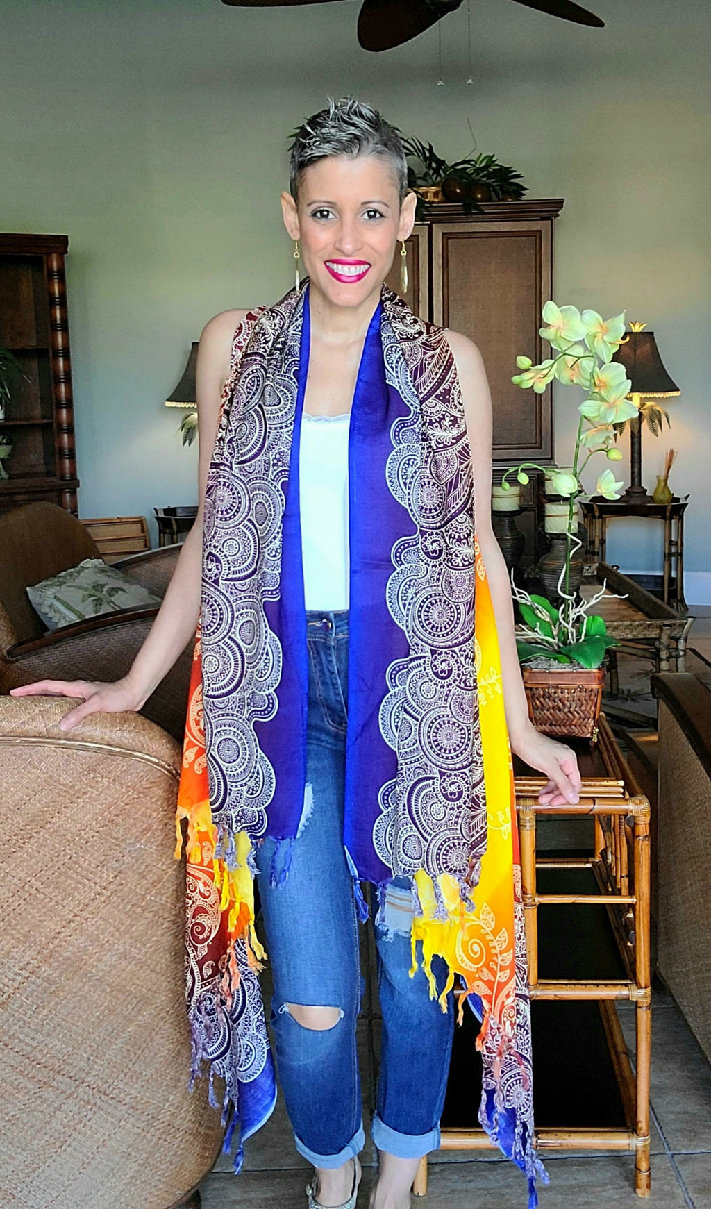 Mandala Kimono Vest in Yellow & Royal Blue
