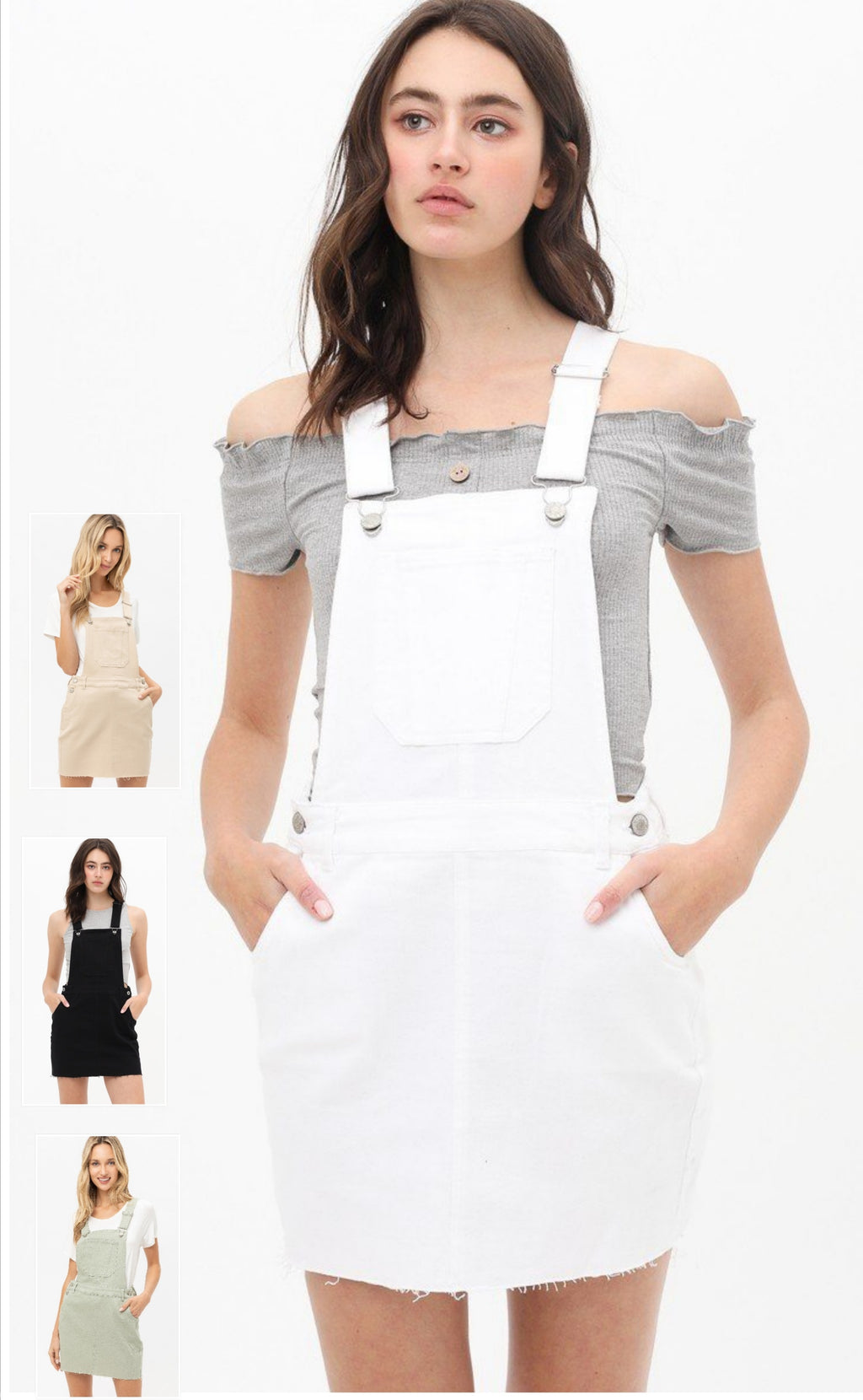 Overalls Dress in White, Moss, Black & Khaki