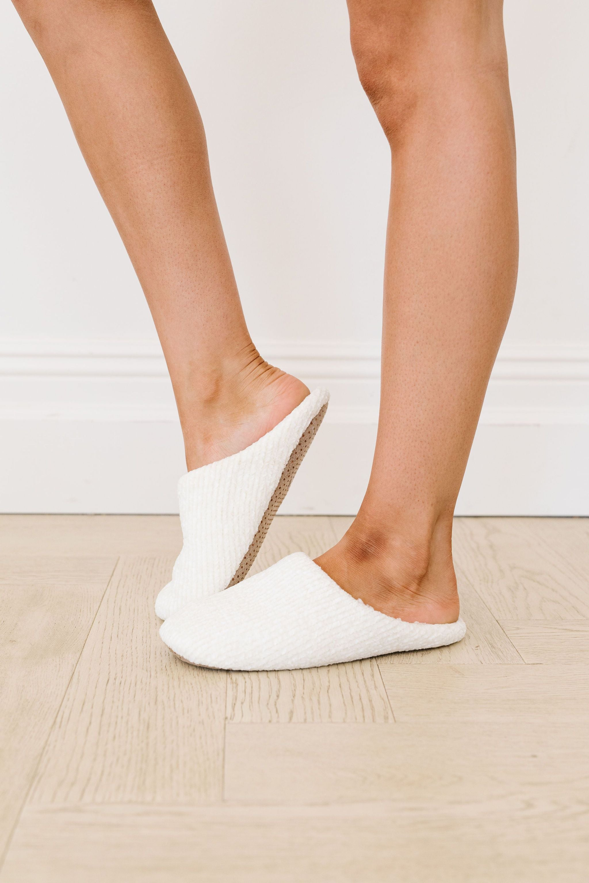 She'll Never Wear Shoes Again Chenille Slippers In Ivory