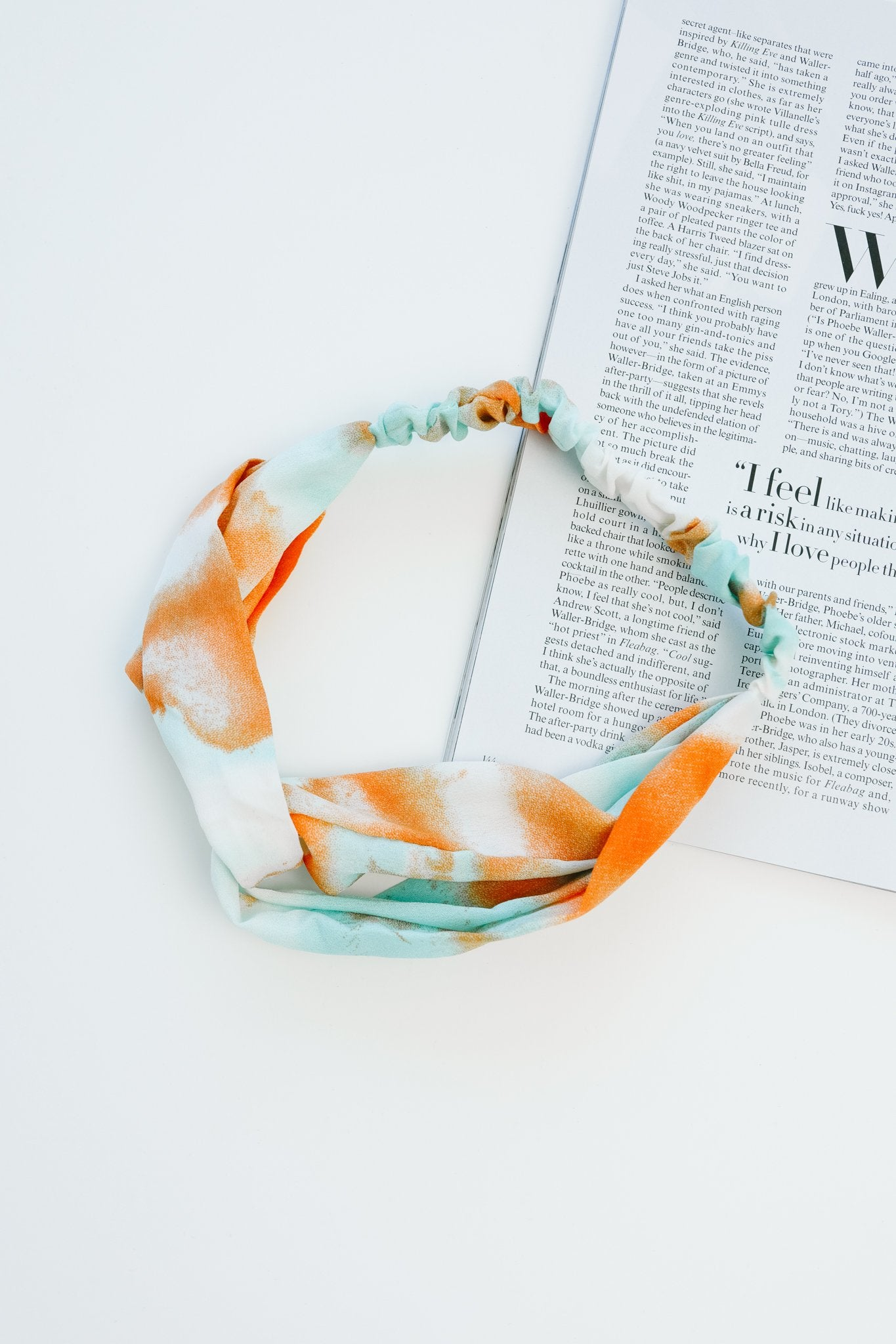 Tie Dye Headband In Aqua & Orange