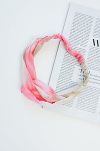Tie Dye Headband In Pink & Taupe