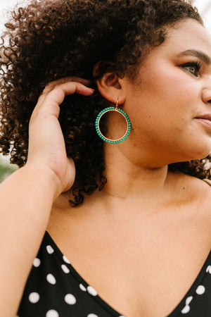 Beaded Mint Hoop Earrings