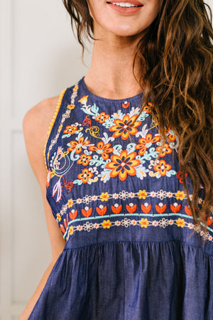 Embroidered Denim Babydoll Dress