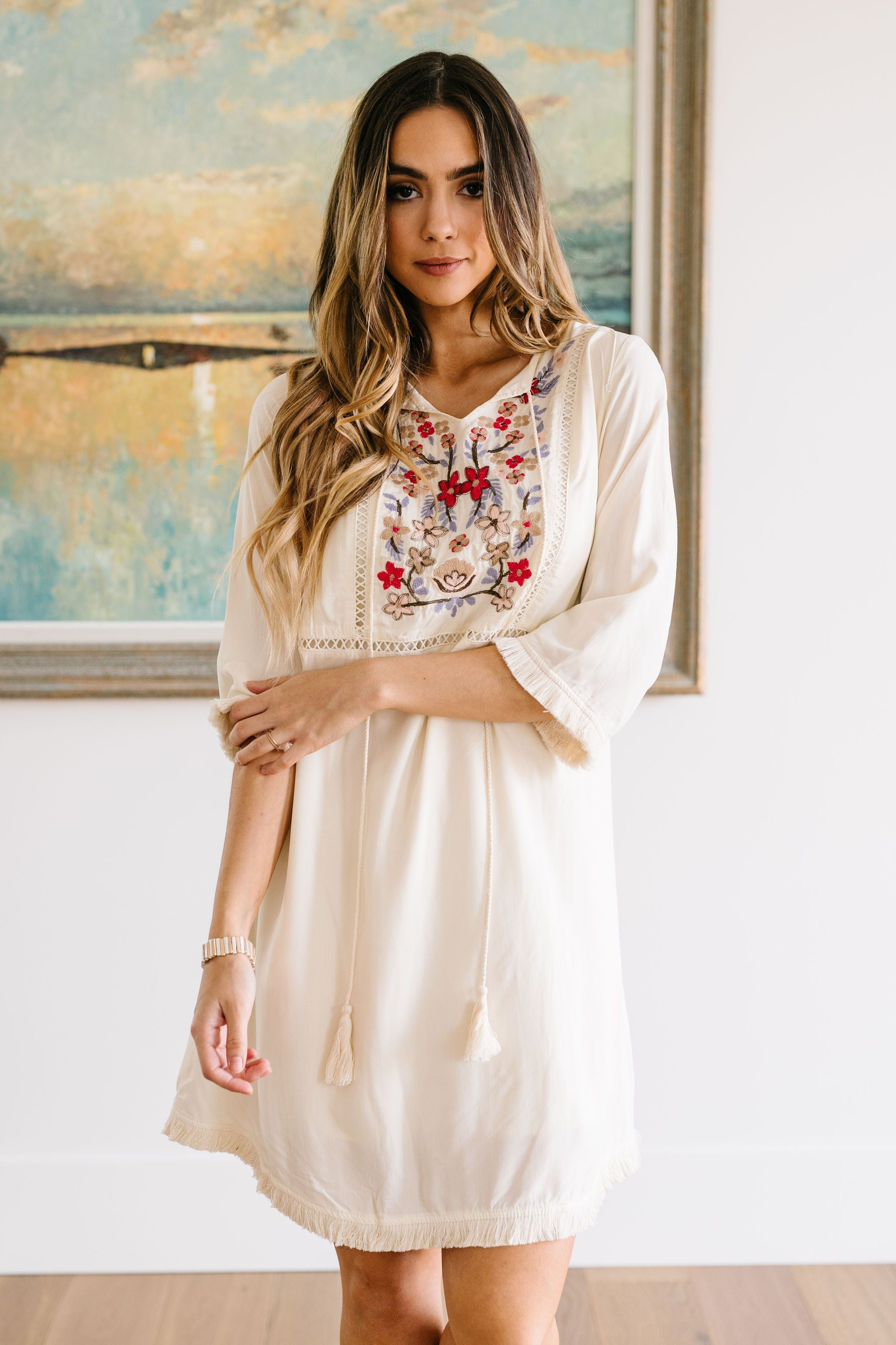 Flowers & Sunshine Embroidered Dress